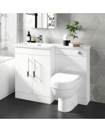 Avon Gloss White Combination Vanity Basin and Seattle Toilet 1100mm - Left Handed