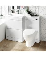 Trent Gloss White Combination Basin Drawer and Seattle Toilet 1100mm - Left Handed