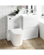 Trent Gloss White Combination Basin Drawer and Boston Toilet 1100mm - Right Handed